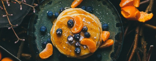 Autumn pancakes on plate