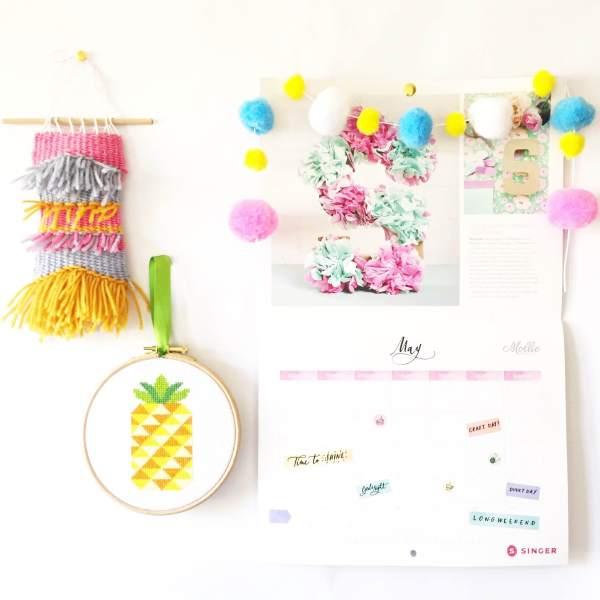 pineapple-cross-stitch-wall-hanging