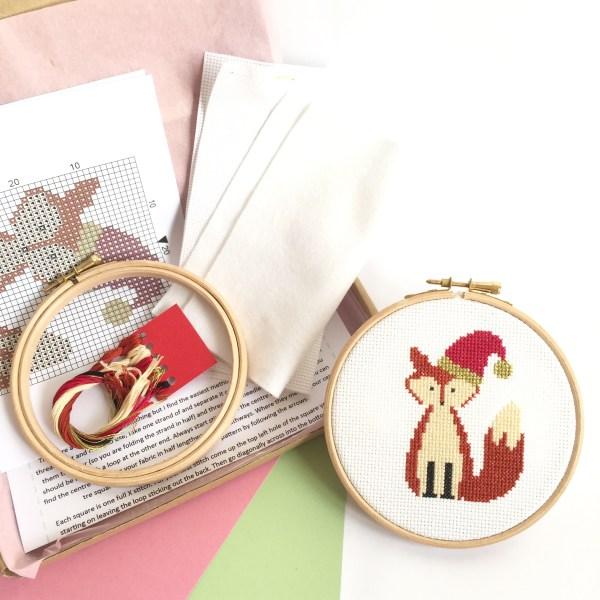 christmas-fox-cross-stitch-kit-supplies