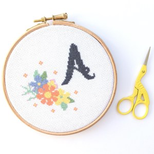 Personalised Monogram Initial Cross Stitch Kit for Beginners