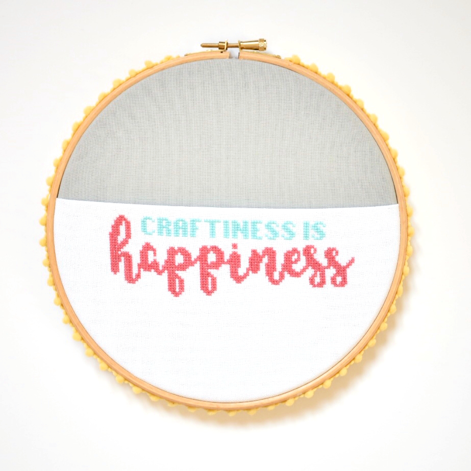 pom-pom trim on hoop