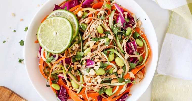 Asian Veggie Noodle Salad with Spicy Peanut Dressing