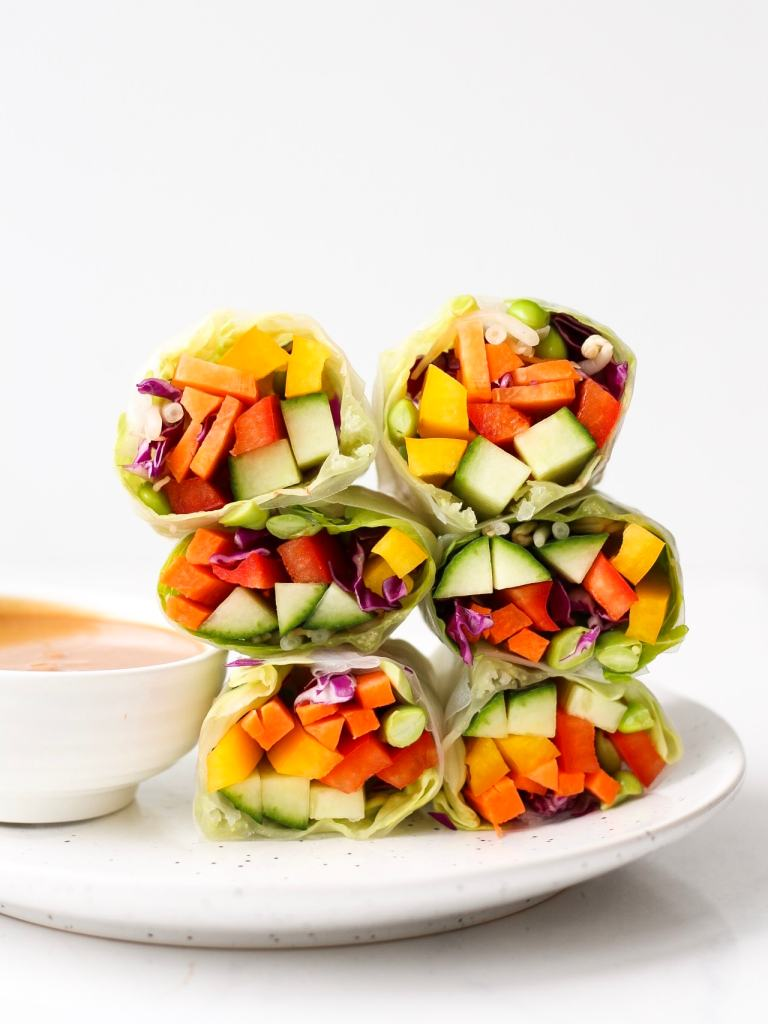 These fresh & healthy spring rolls are full of veggies, flavour and crunch. They make a great light, no-cook meal, or snack to share.