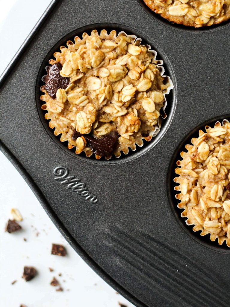 Prep these baked oatmeal cups and store them in the fridge or freezer for an easy, delicious and super healthy breakfast! PS - They're vegan and gluten-free!