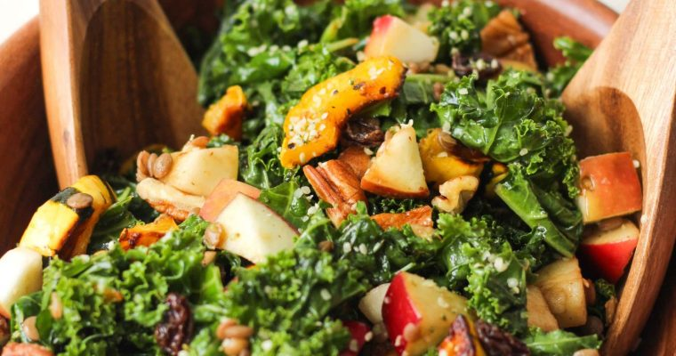 Autumn Kale Salad with Maple Balsamic Vinaigrette