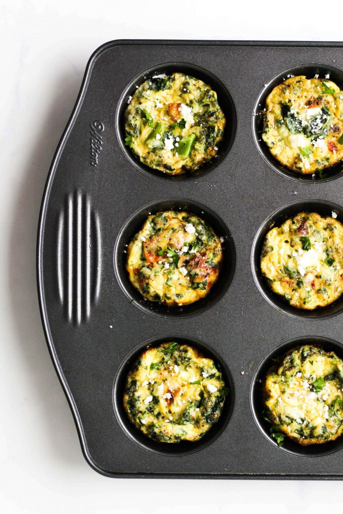 These Vegetarian Egg Muffins are easy to make and great to meal-prep + enjoy all week long! Made with 5 simple ingredients, they're a protein-rich breakfast or snack option.