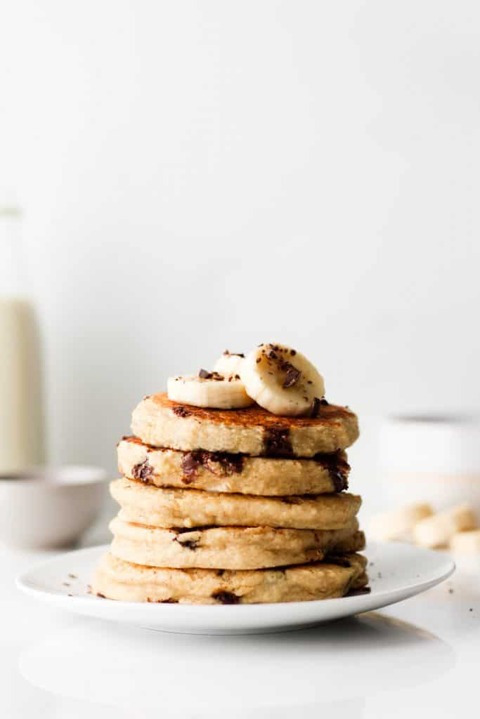 The fluffiest gluten-free pancakes you'll ever make! These oat flour pancakes make a delicious and healthy breakfast for those slower mornings when you want something sweet.