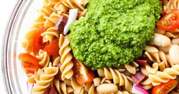 Pesto Pasta Salad with White Beans