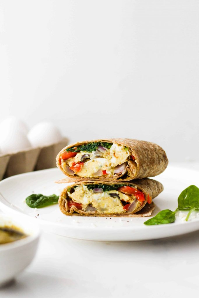 These Pesto Vegetable Egg Wraps make a delicious healthy breakfast or lunch recipe! With quality protein, healthy fat, and fibre, these vegetarian wraps should keep you feeling full and satisfied for hours.