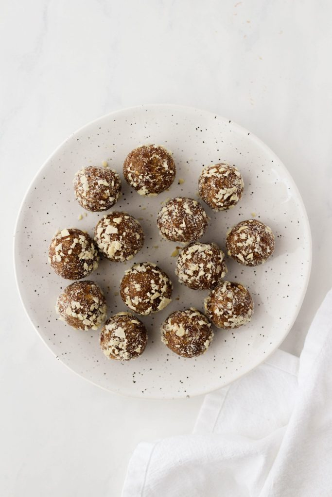Salted Caramel Energy Bites on a plate