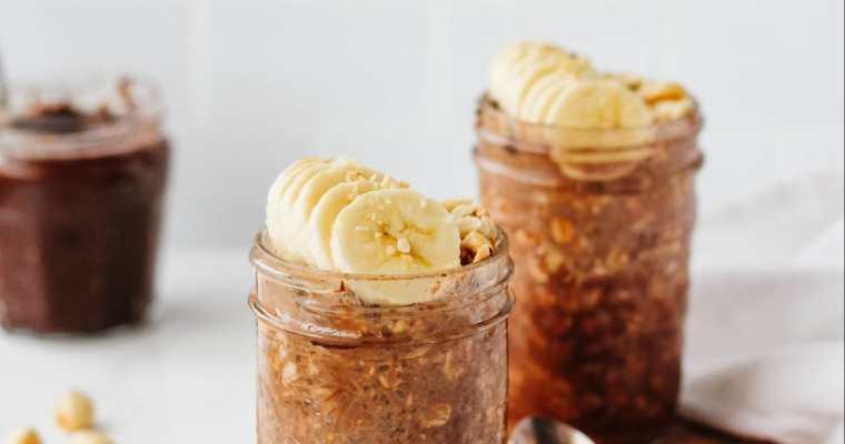 Chocolate Hazelnut Overnight Oats (Vegan + Gluten-Free)