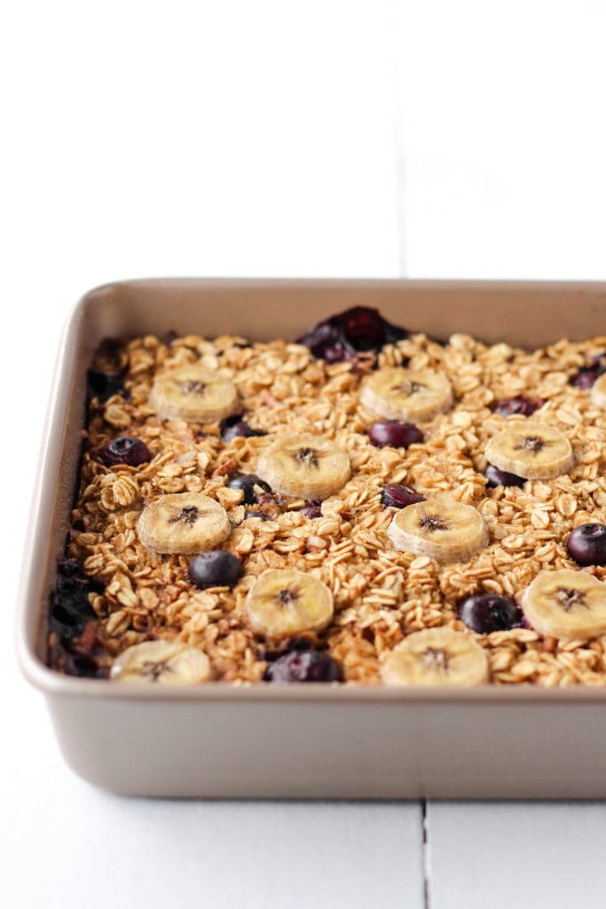 Baked oatmeal removed from the oven.