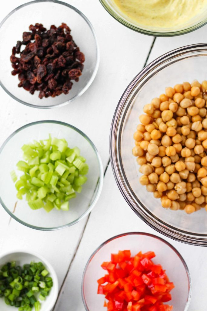 Ingredients for curry chickpea salad