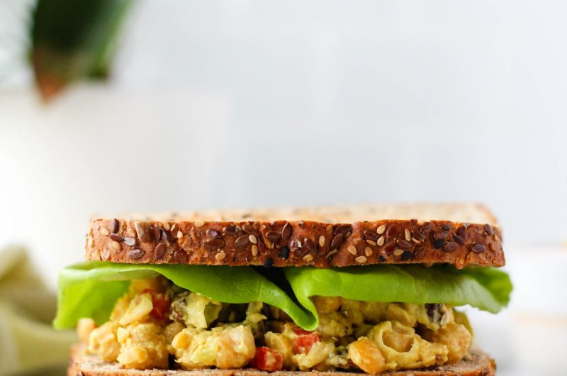 Add this Curry Chickpea Salad to your meal-prep roster! It's simple to make and a perfect healthy lunch option as it's packed with veggies, plant-based protein and fibre. Enjoy on it's own or on a sandwich!