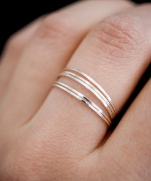 sterling silver ultra thin ring set of 5