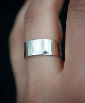 hammered silver wide band