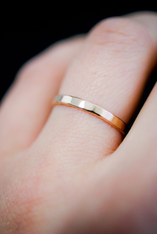 gold extra thick ring hammered
