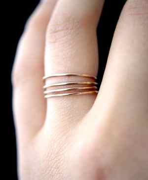 rose gold stacking set of 4 in smooth finish