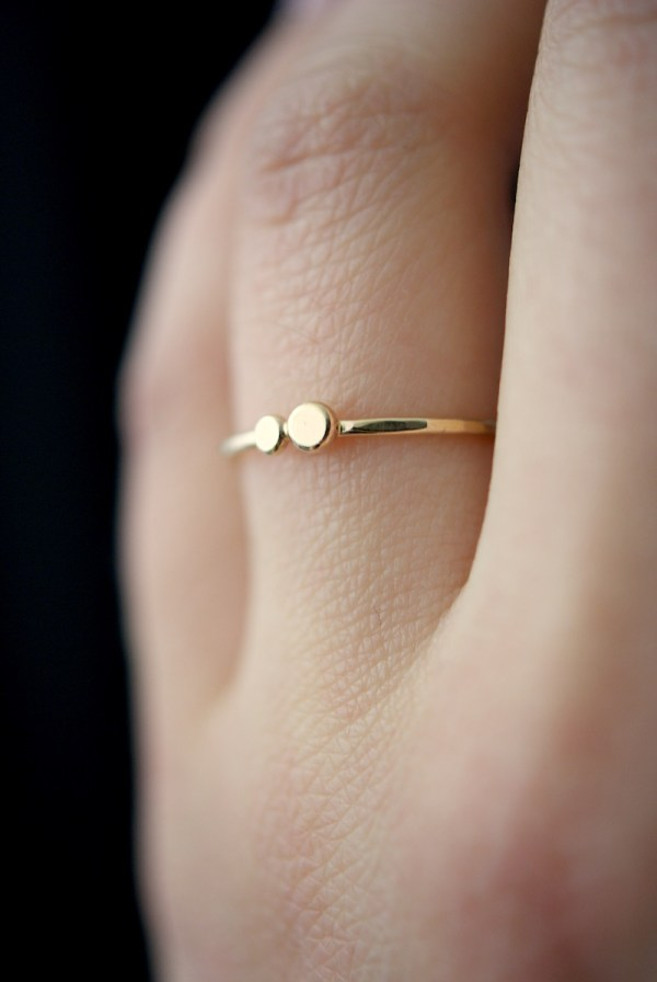 gold double pebble ring