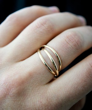 smooth gold interlocking set of three rings - thin