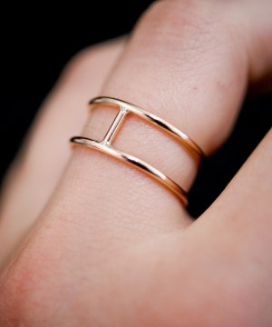 Small Rose Gold Cage Ring in a smooth finish