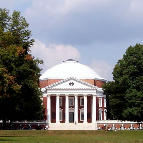 The Rotunda at the University of Virginia University. UVA is an example of Jeffersonian architecture