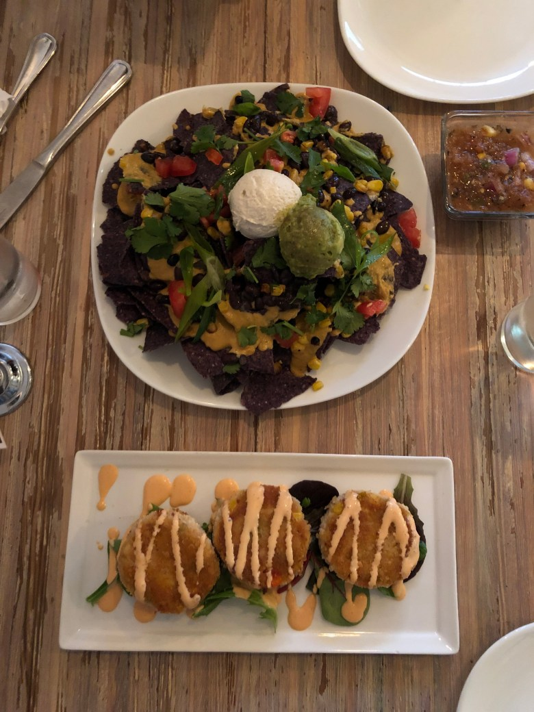 vegan/gluten free nachos and artichoke cakes from SEED