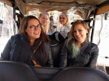 All of us piled into the tuk-tuk