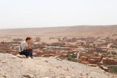 Emilie on the top of Ait Ben Haddou