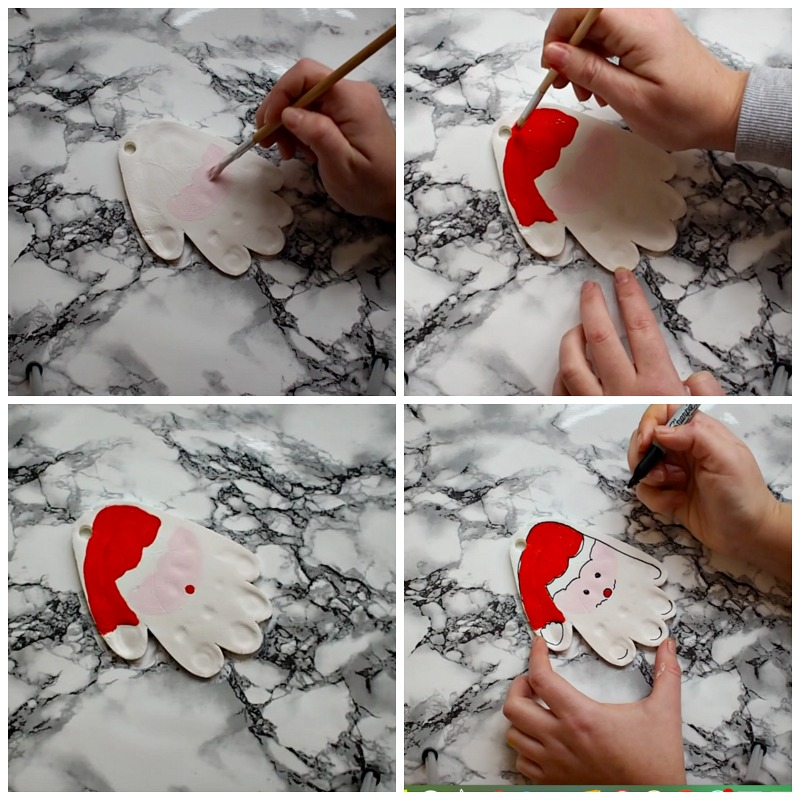 homemade clay white clay father christmas handprints