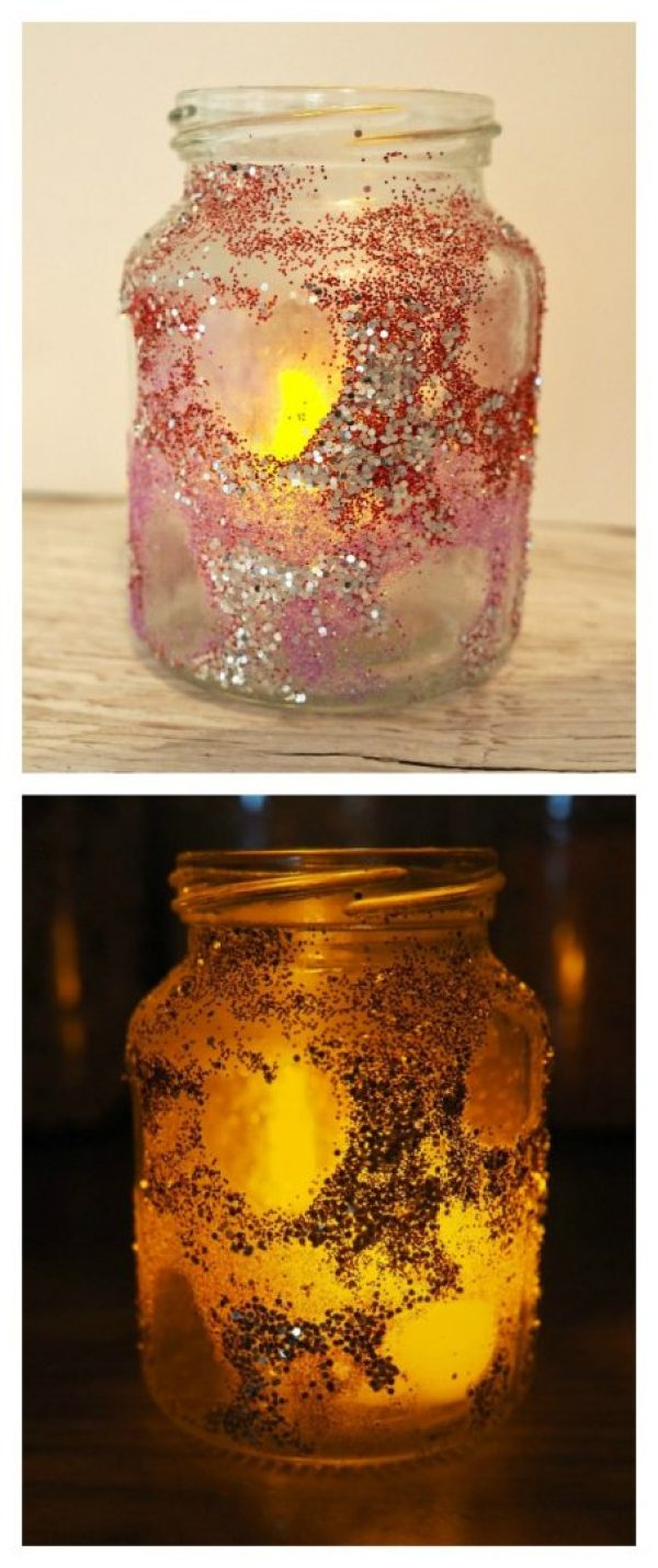 How to make Glitter Heart Reveal Valentines Heart Jars