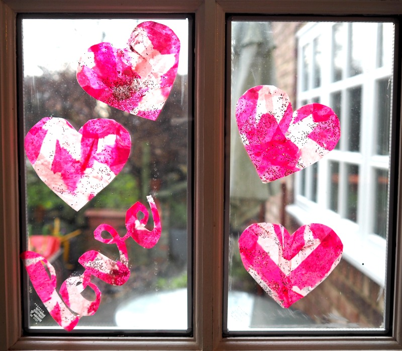 how to make gorgeous heart suncatchers - Valentines for kids