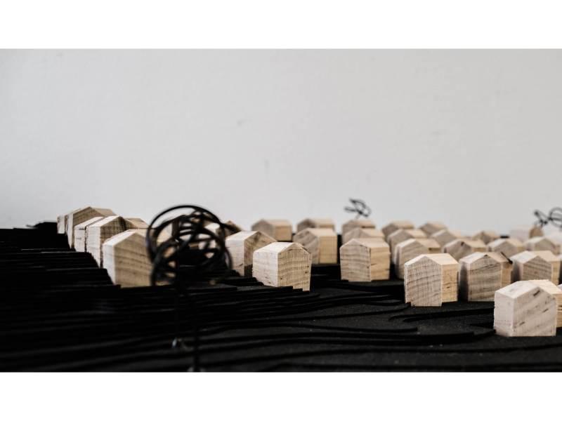 Landscape model based on digital model, produced with laser cutter.