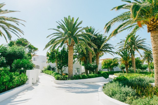 Caramel luxury hotel in Crete photographed on the wedding day as a backdrop to bridal preparations.