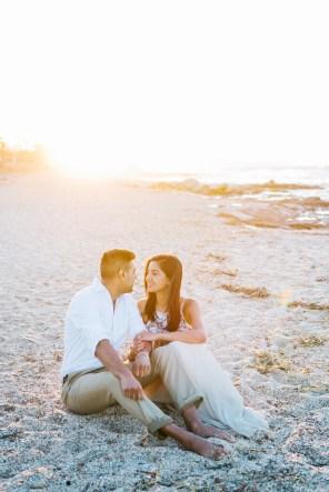 Intimate beach engagement portraits in Crete