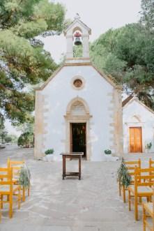 Greek orthodox ceremony set up at the church of Profitis Ilias, Chania, Crete.