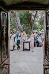 Elegant couple on their Greek orthodox destination wedding ceremony in Profitis Ilias, Chania & Crete.