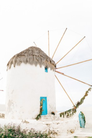 Windmills of Mykonos, decorated with wedding flowers.