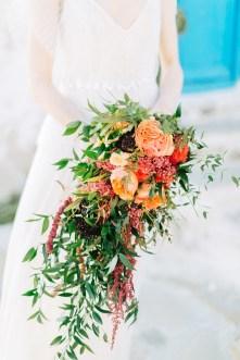 Wedding bridal bouquet shot in Mykonos island.