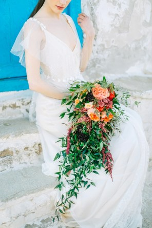 Wedding bridal bouquet shot in Mykonos island.