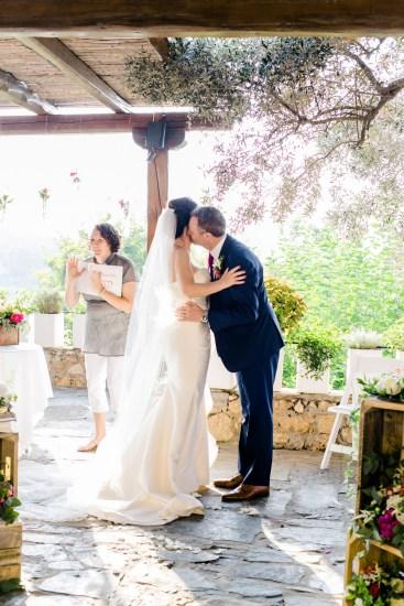 Destination wedding ceremony in Crete, Greece.