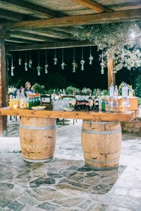Wedding reception bar styled for a rustic wedding in Agreco Farm.