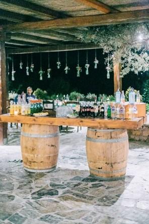 Wedding reception bar styled for a rustic wedding in Agreco Farm.