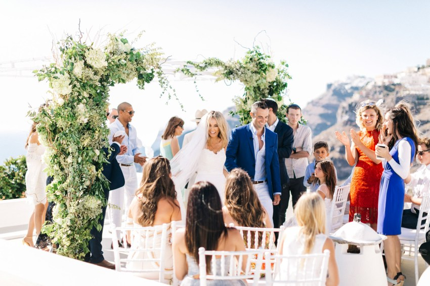 Wedding ceremony in Santorini, Greece.
