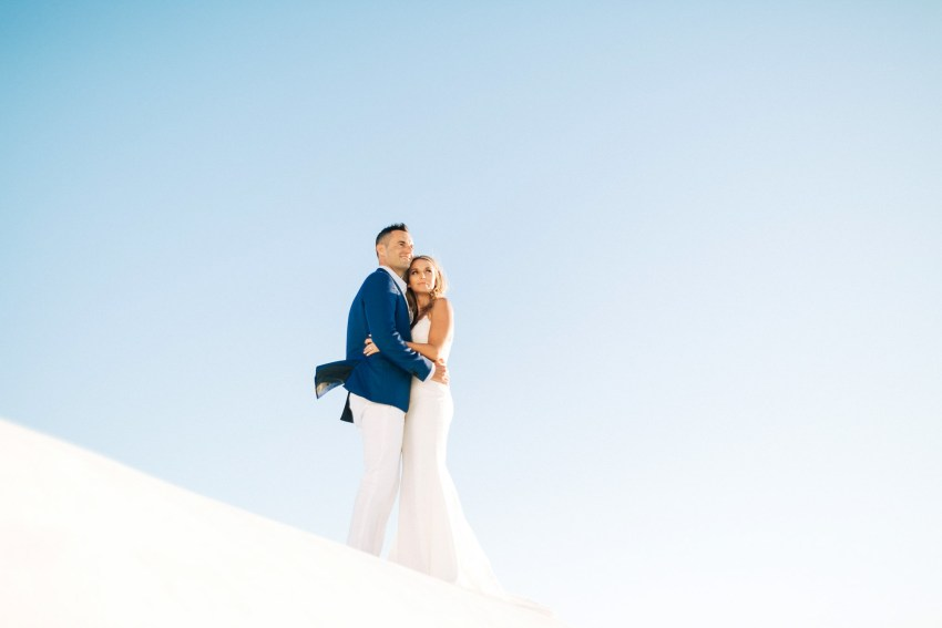 Beautiful wedding couple in Santorini, Greece.