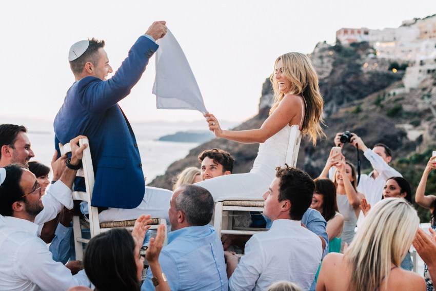Jewish wedding reception in Thira, Santorini, Greece.