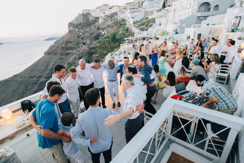 Wedding sunset reception in Thira, Santorini, Greece.