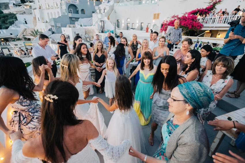 Wedding reception in Thira, Santorini, Greece.