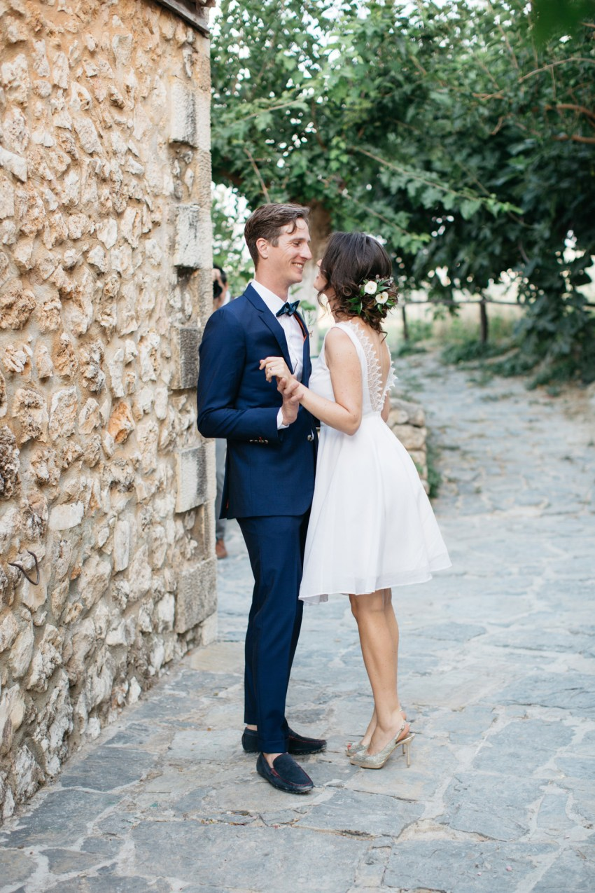 Sweet first look wedding moments at Grecotel Agreco Farm Crete Greece.