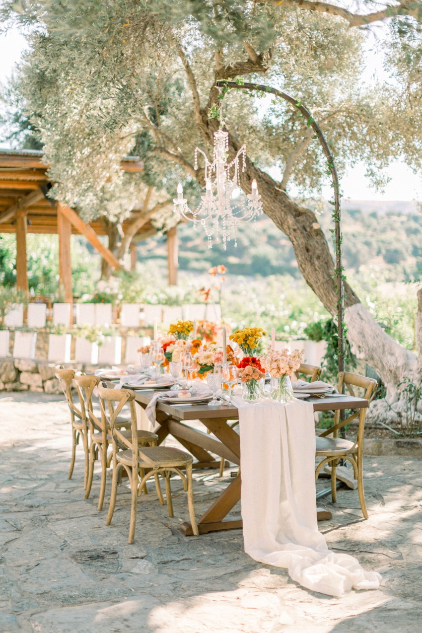 Reception decoration flowers and details by R&C events and Oneiranthi for a wedding editorial in Grecotel Agreco Farms Crete Greece.